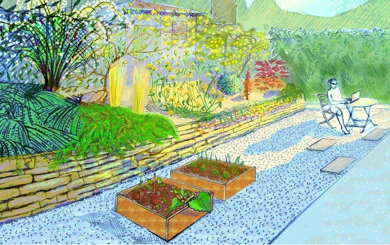 Esquisse présentée à la cliente précisant le projet avant d'aménager son jardin